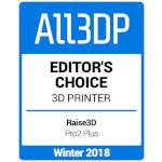 All3DP Editors Choice Award - Raise3D Pro2 Plus 3D-Drucker